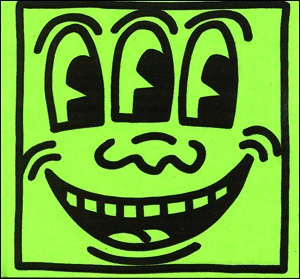 Keith Haring Three Eyed Smiling Face Sticker
