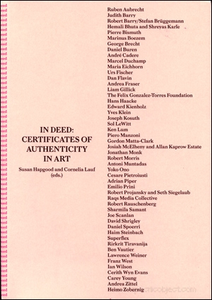 In Deed : Certificates of Authenticity in Art