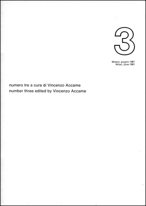 Edizione Cenobio Visualità : Numero tre a cura di Vincenzo Accame / Number three edited by Vincenzo Accame