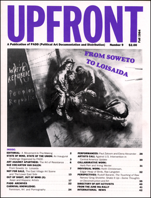 UPFRONT : A Publication of PADD (Political Art Documentation and Distribution)