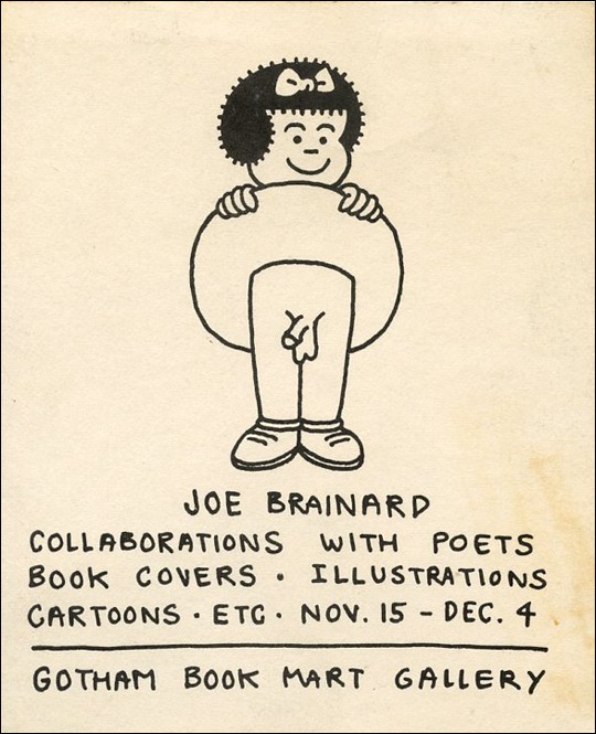 Joe Brainard Collaborations with Poets, Book Covers, Illustrations, Cartoons, etc.