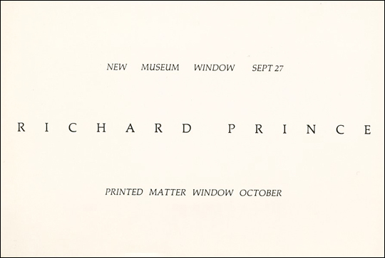 Richard Prince : New Museum Window Sept 27 / Printed Matter Window October