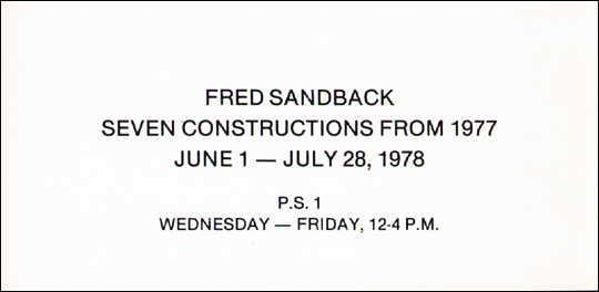 Fred Sandback : Seven Constructions from 1977