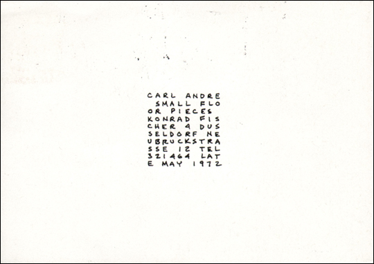 Carl Andre : Small Floor Pieces