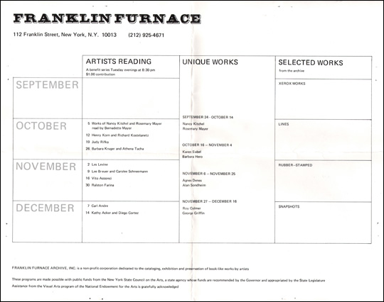 Franklin Furnace Calendar of Events