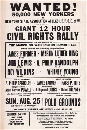 Wanted! 50,000 New Yorkers : Giant 12 Hour Civil Rights Rally for the Benefit of The March on Washington Committee