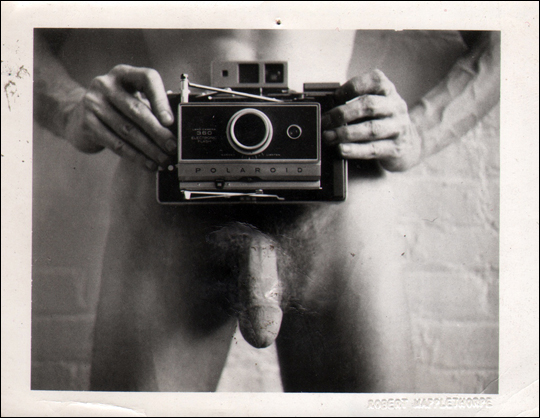 Untitled (self-portrait) [Invitation to Robert Mapplethorpe's Exhibition at Light Gallery Opening, January 6, 1973]