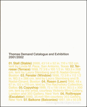 Thomas Demand Catalogue and Exhibition 2001 / 2002