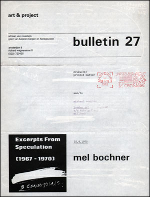 Bulletin 27 : Excerpts From Speculation (1967 - 1970) 3 Conditions