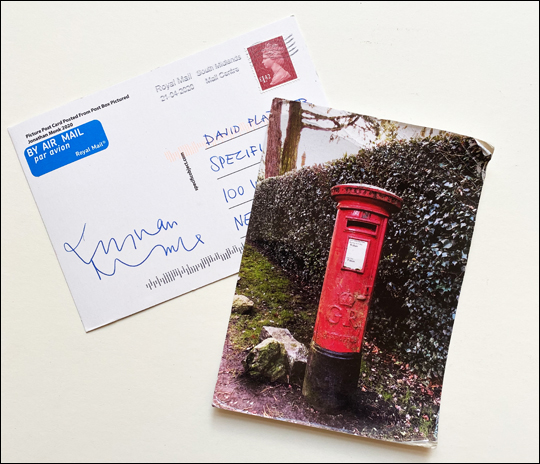 Picture Post Card Posted from Post Box Pictured