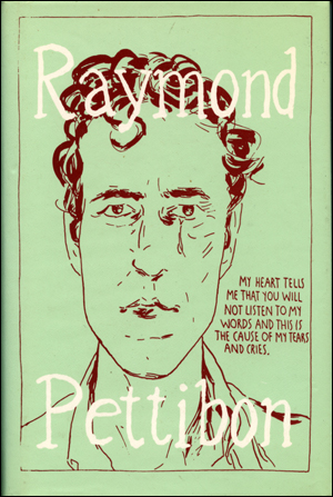 """Book cover for """"Raymond Pettibon: The Books, 1978-1998,"""" with a bust-length self-portrait on a mint-colored background with some text to the right."""