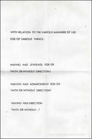 With Relation to the Various Manners of Use For / Of Various Things...