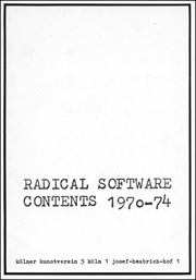 Radical Software : Contents 1970 - 74