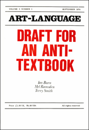 Art-Language : Draft for an Anti - Textbook