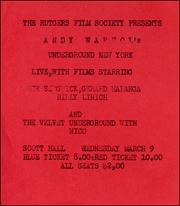 The Rutgers Film Society Presents Andy Warhol's Underground New York