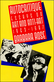 Autocritique : Essays on Art and Anti-Art 1963 - 1987