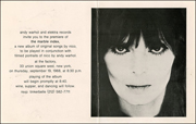 Andy Warhol and Elektra Records Invite You to the Premier of The Marble Index, A New Album of Original Songs by Nico ...