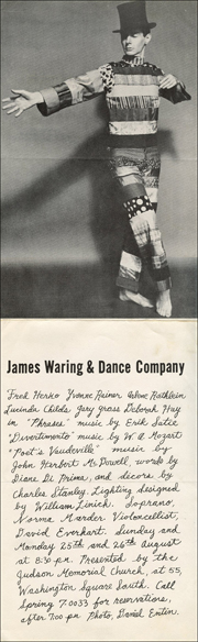 James Waring & Dance Company : Fred Herko Yvonne Rainer Arlene Rothleim Lucinda Childs Gary Gross Deborah Hay in