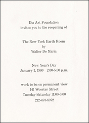 Dia Art Foundation invites you to the reopening of The New York Earth Room by Walter De Maria