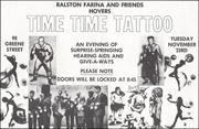 Ralston Farina and Friends Hovers / Time Time Tattoo / An Evening of Surprise-Springing Hearing Aids and Give-a-Ways