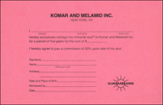 I hereby exclusively consign my immortal soul to Komar and Melamid Inc. for a period of five year for the sum of $ ....