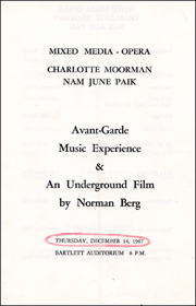 Mixed Media Opera: Charlotte Moorman, Nam June Paik / Avant-Garde Music Experience & An Underground Film by Norman Berg