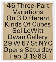 Sol LeWitt : 46 Three-Part Variations on 3 Different Kinds of Cubes