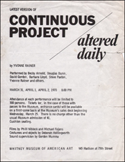 Latest Version of Continuous Project Altered Daily by Yvonne Rainer