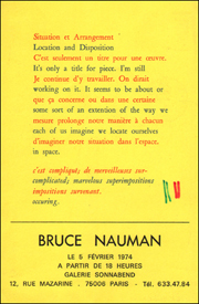Bruce Nauman : Situation et Arrangement / Location and Disposition