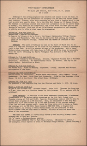 Film-Makers' Cinematheque Program for January - March, 1964