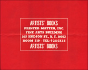 Printed Matter, Inc. : Artists' Books, First Poster