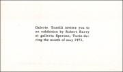 Galerie Toselli Invites You to an Exhibition by Robert Barry at Galleria Sperone, Turin During the Month of May 1973.