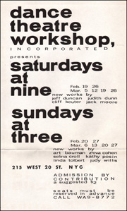 Dance Theatre Workshop [Theater] Presents Saturdays at Nine and Sundays at Three