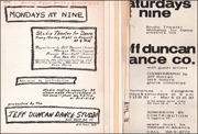 Jeff Duncan Dance Studio : Studio Theater for Dance, Set of Eight Fliers and Announcements for Performances and Events, 1964 - 1965 [Mondays at Nine,