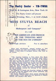 The Poetry Center will Present Miss Sylvia Beach of Shakespeare and Company in a Talk