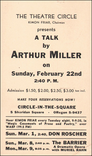 The Theatre Circle Presents : A Talk By Arthur Miller