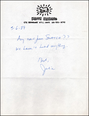 Note on Keith Haring Letterhead