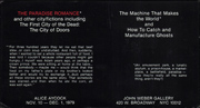 The Paradise Romance / The Machine That Makes the World and How to Catch and Manufacture Ghosts
