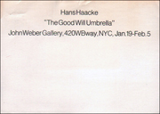 Hans Haacke : The Good Will Umbrella