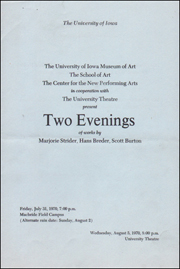 Two Evenings of Works by Marjorie Strider, Hans Breder, Scott Burton