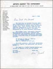 Artists Against the Expressway / Letter from Donald Judd to Fred McDarrah