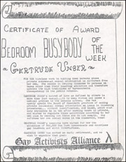 Certificate of the Week Bedroom Busybody / Keep Sex Out of the Classroom / Board of Examiners Makes Sexuality an Issue