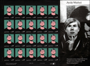 Sheet of Twenty 37 Cent Andy Warhol Stamps