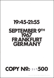 19 : 45 - 21 : 55 : September 9th 1967 / Frankfurt Germany