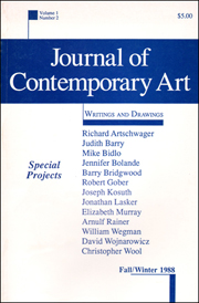 Journal of Contemporary Art : Writings and Drawings
