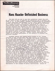 Hans Haacke : Unfinished Business / Exhibition Supplement