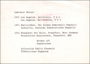 Lawrence Weiner : Broken Off / Abgebrochen, Collection Public Freehold
